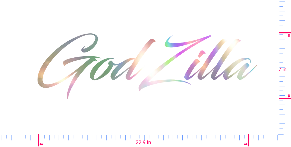 Text GodZilla Vinyl custom lettering decal/7 x 22.9 in/ OilSlick Chrome /