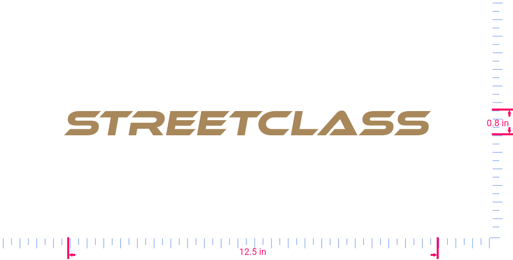 Text STREETCLASS  Vinyl custom lettering decall/0.8 x 12.5 in/ Light Brown /