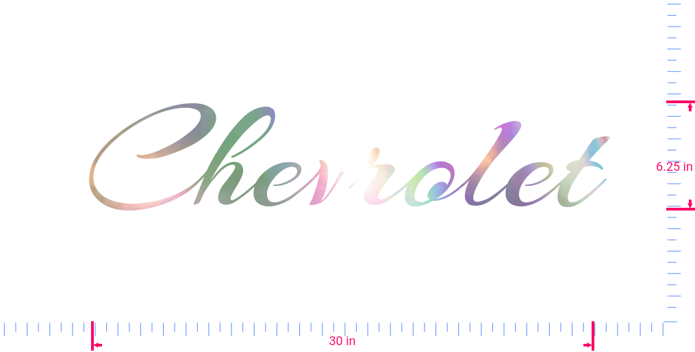 Text Chevrolet Vinyl custom lettering decal/6.25 x 30 in/ OilSlick Chrome /