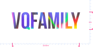 Text Vqfamily Vinyl custom lettering decall/6 x 23.53 in/ OilSlick Chrome /