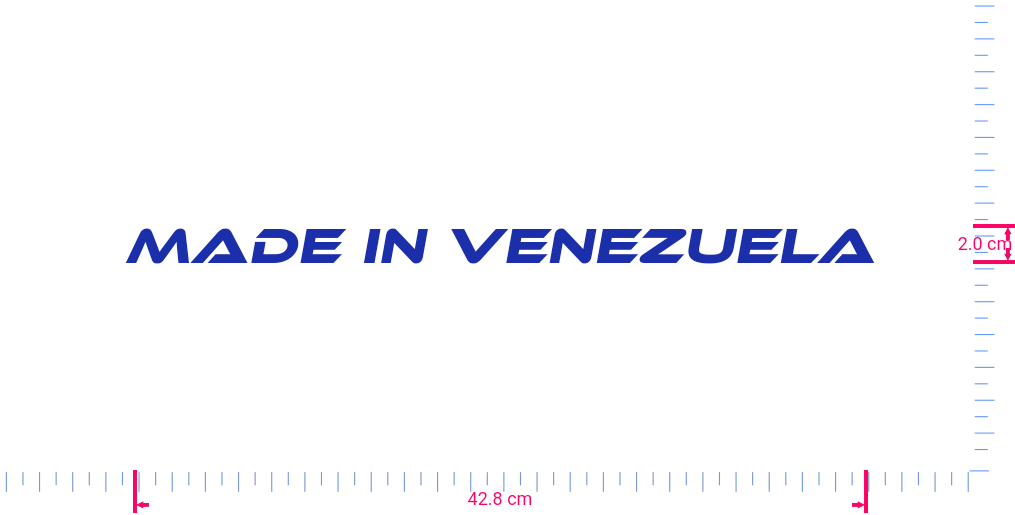 Text Made in Venezuela Vinyl custom lettering decal/2.0 x 42.8 cm/ Brilliant Blue /