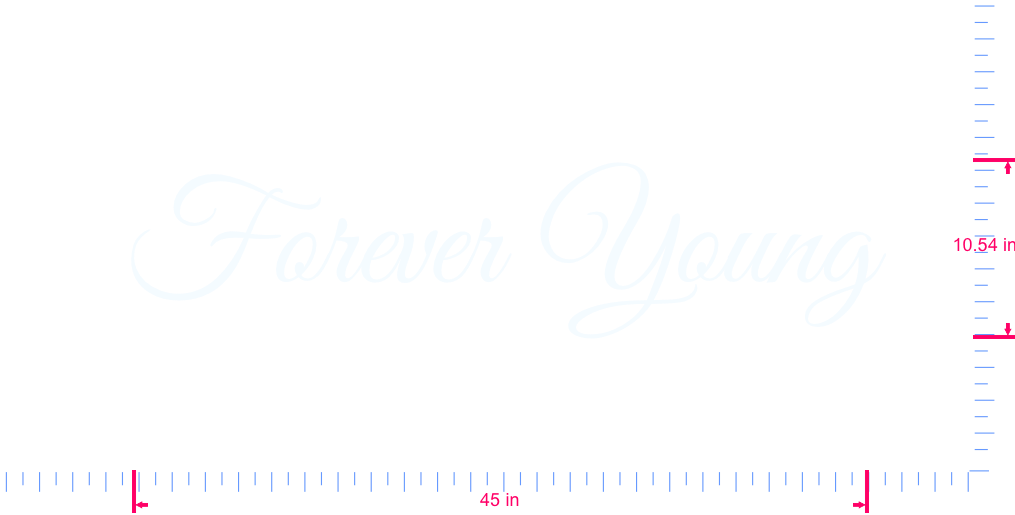 Text Forever Young Vinyl custom lettering decall/10.54 x 45 in/ White /