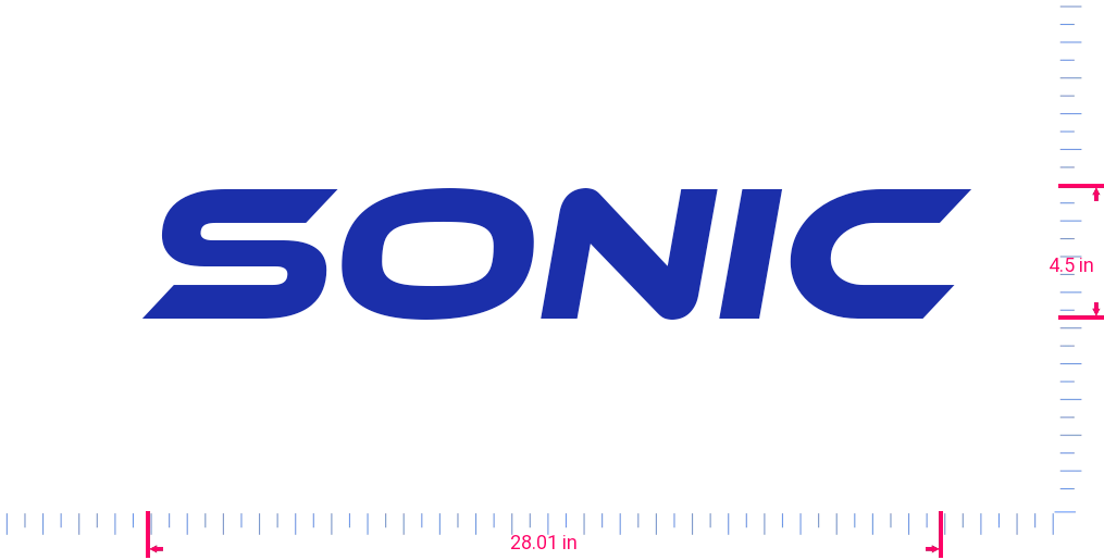 Text Sonic Vinyl custom lettering decal/4.5 x 28.01 in/ Brilliant Blue /