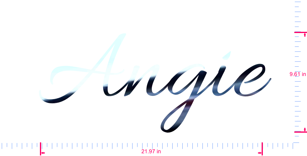 Text Angie Vinyl custom lettering decal/9.61 x 21.97 in/ Mirror Chrome /