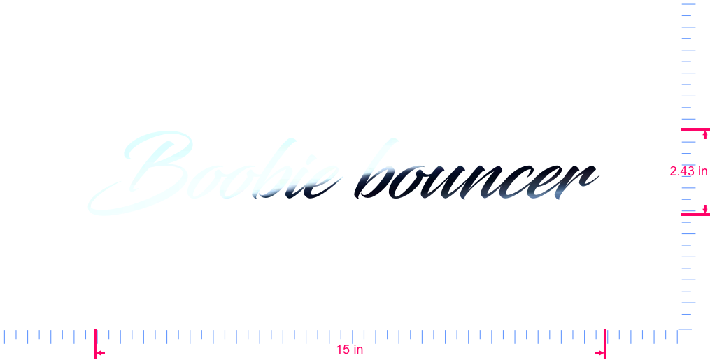 Text Boobie bouncer  Vinyl custom lettering decal/2.43 x 15 in/ Mirror Chrome /