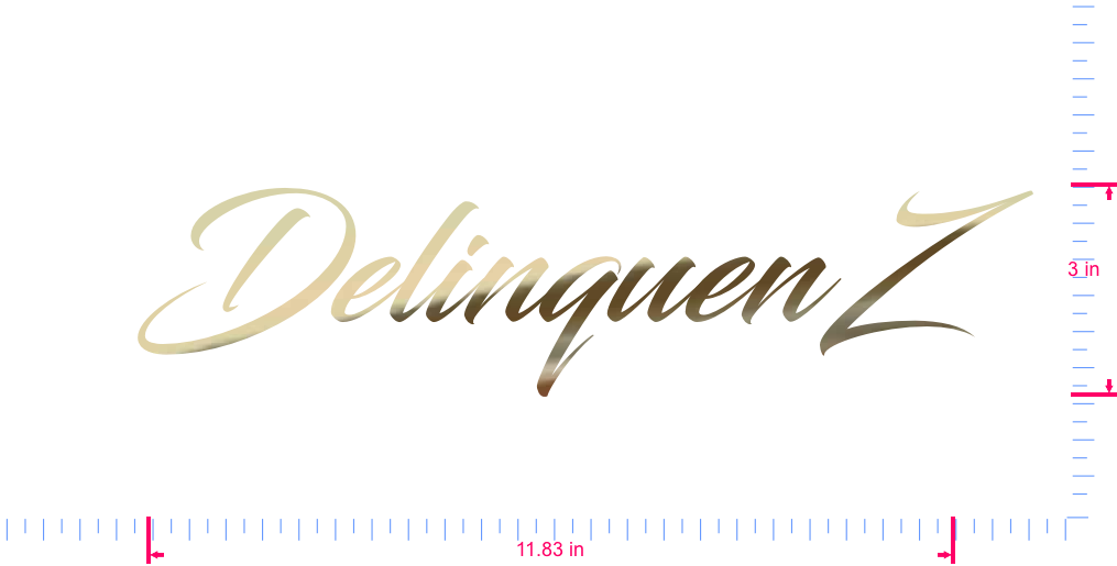 Text DelinquenZ Vinyl custom lettering decal/3 x 11.83 in/ Gold Chrome /