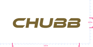 Text Chubb Vinyl custom lettering decal/0.5 x 3.5 in/ Gold /