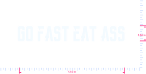 Text Go fast eat ass Vinyl custom lettering decal/1.66 x 12.0 in/ White /