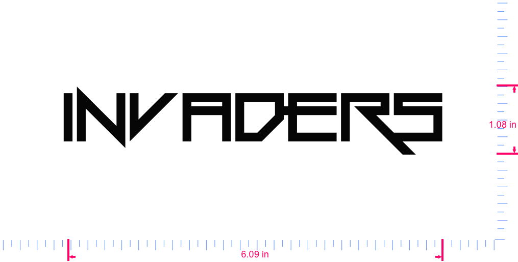 Text Invaders Vinyl custom lettering decal/1.08 x 6.09 in/ Black /