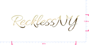 Text RecklessNY Vinyl custom lettering decal/7.39 x 30 in/ Gold Chrome /