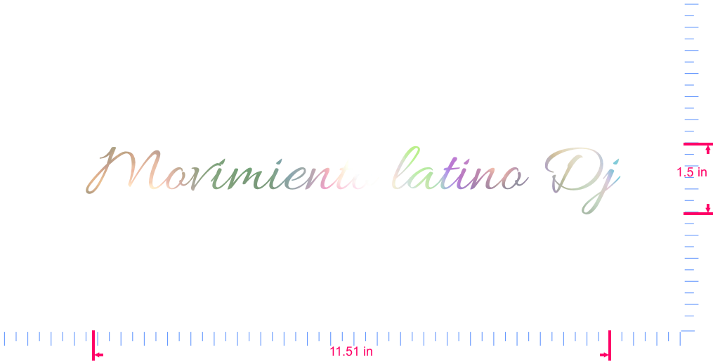 Text Movimiento latino Dj Vinyl custom lettering decal/1.5 x 11.51 in/ OilSlick Chrome /