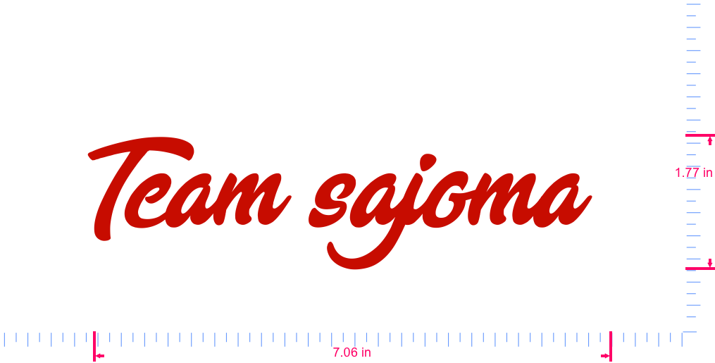Text Team sajoma  Vinyl custom lettering decal/1.77 x 7.06 in/ Red /