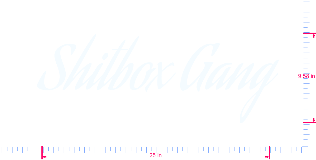 Text Shitbox Gang Vinyl custom lettering decall/9.58 x 25 in/ White /