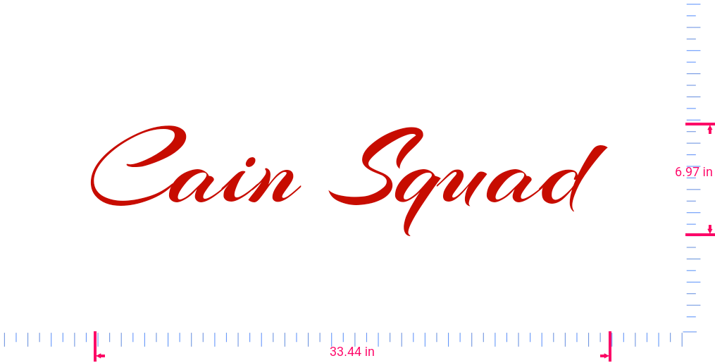 Text Cain Squad  Vinyl custom lettering decall/6.97 x 33.44 in/ Red /