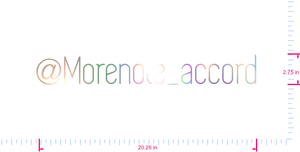 Text @Morenote_accord Vinyl custom lettering decal/2.75 x 20.26 in/ OilSlick Chrome /