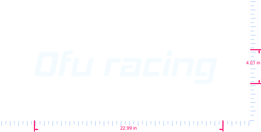Text Ofu racing  Vinyl custom lettering decall/4.01 x 22.99 in/ White /