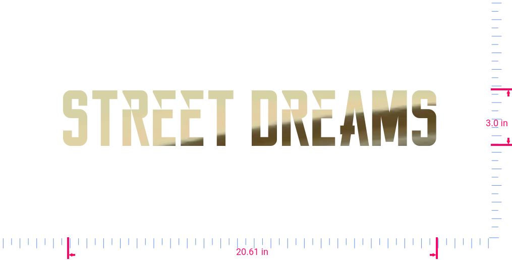 Text Street Dreams Vinyl custom lettering decall/3.0 x 20.61 in/ Gold Chrome /