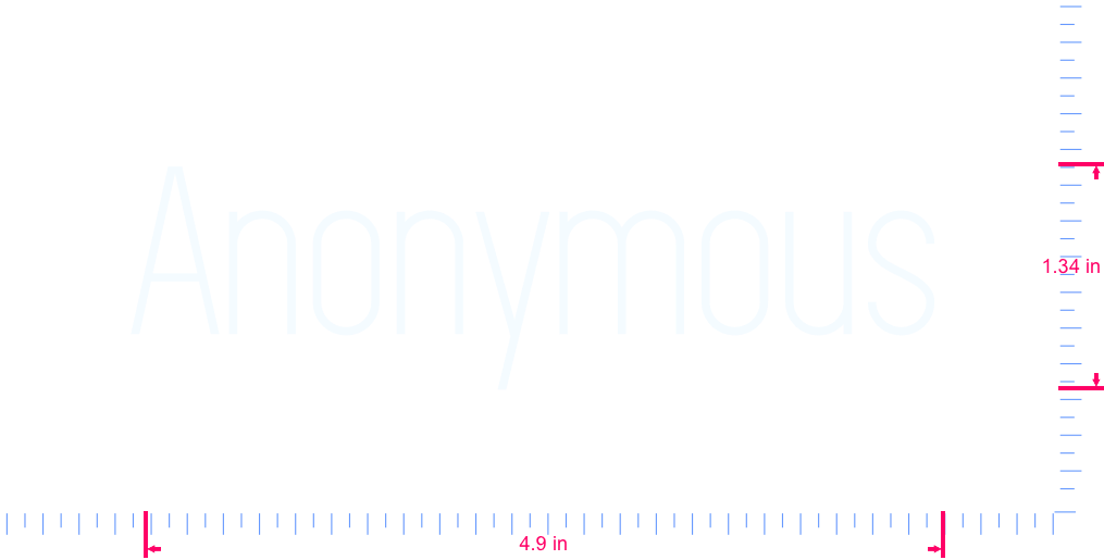 Text Anonymous Vinyl custom lettering decal/1.34 x 4.9 in/ White /