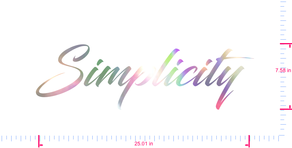 Text Simplicity  Vinyl custom lettering decal/7.58 x 25.01 in/ OilSlick Chrome /