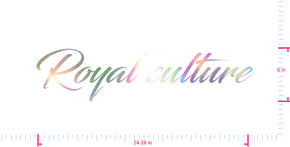 Text Royal culture Vinyl custom lettering decal/6 x 24.26 in/ OilSlick Chrome /