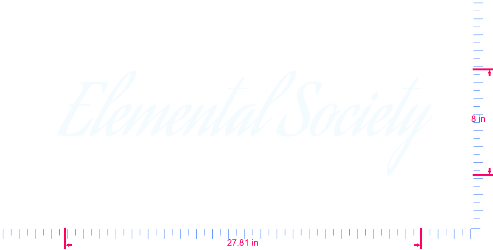 Text Elemental Society Vinyl custom lettering decal/8 x 27.81 in/ White /