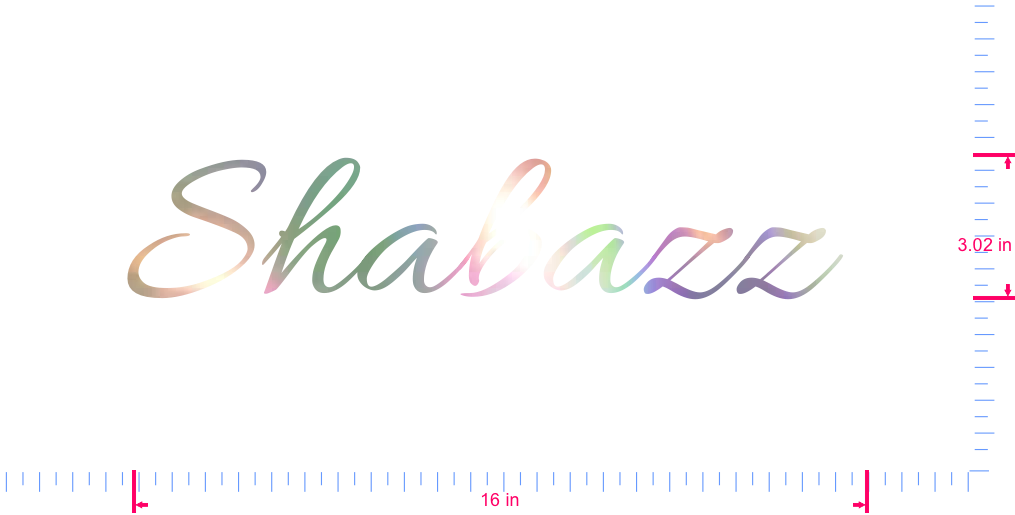 Text Shabazz  Vinyl custom lettering decal/3.02 x 16 in/ OilSlick Chrome /