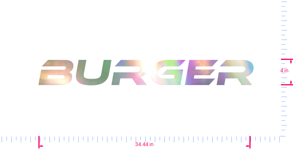 Text Burger Vinyl custom lettering decal/4 x 34.44 in/ OilSlick Chrome /