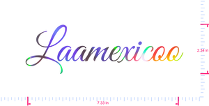 Text Laamexicoo Vinyl custom lettering decall/2.34 x 7.33 in/ OilSlick Chrome /