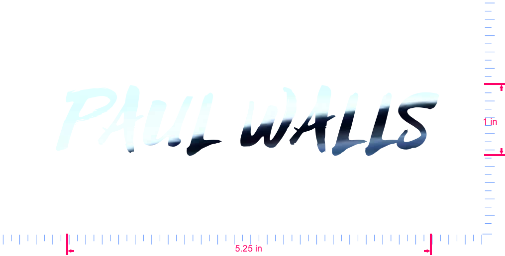 Text PAUL WALLS Vinyl custom lettering decall/1 x 5.25 in/ Mirror Chrome /