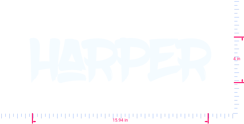 Text Harper Vinyl custom lettering decall/4 x 15.94 in/ White /