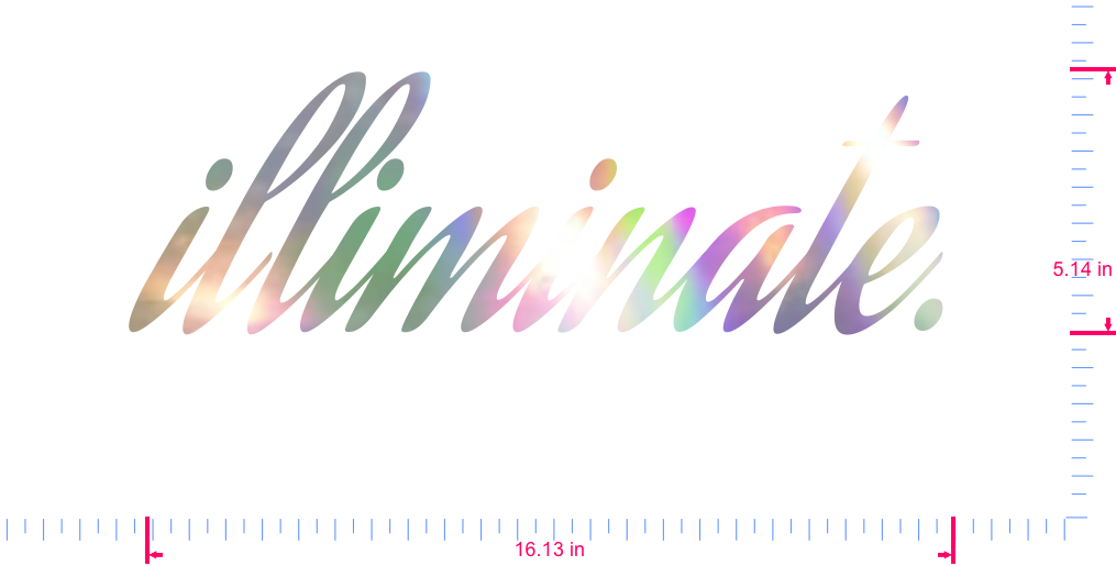 Text illiminate. Vinyl custom lettering decal/5.14 x 16.13 in/ OilSlick Chrome /