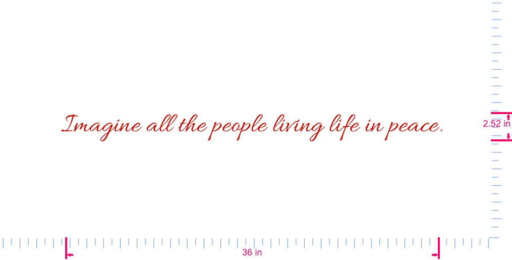 Text Imagine all the people living life in peace. Vinyl custom lettering decal/2.52 x 36 in/ Red /