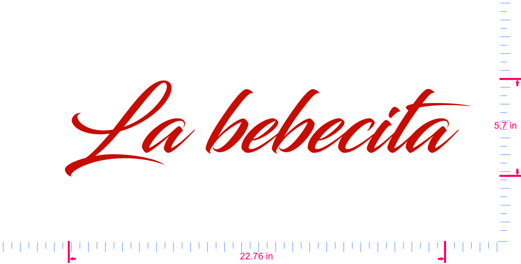 Text La bebecita Vinyl custom lettering decal/5.7 x 22.76 in/ Red /