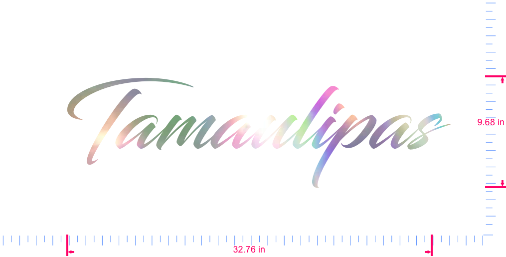 Text Tamaulipas Vinyl custom lettering decal/9.68 x 32.76 in/ OilSlick Chrome /