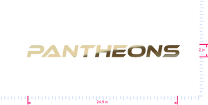 Text Pantheons Vinyl custom lettering decal/2 x 24.9 in/ Gold Chrome /