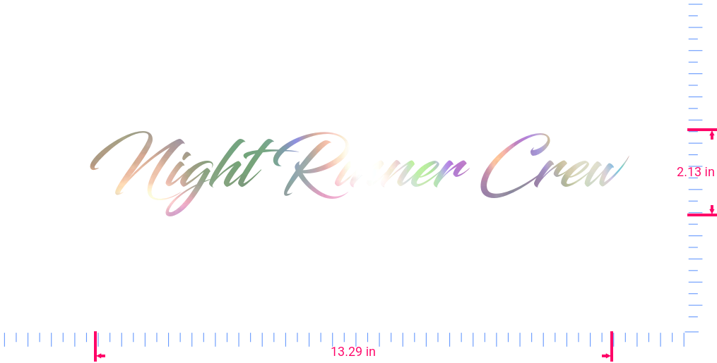 Text Night Rinner Crew Vinyl custom lettering decal/2.13 x 13.29 in/ OilSlick Chrome /