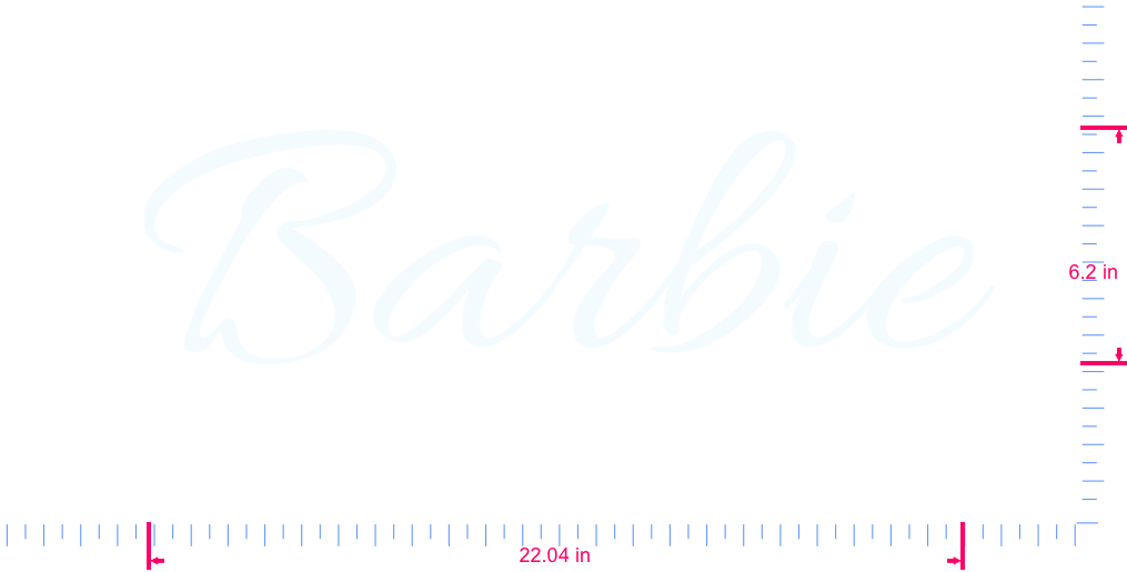 Text Barbie Vinyl custom lettering decall/6.2 x 22.04 in/ White /
