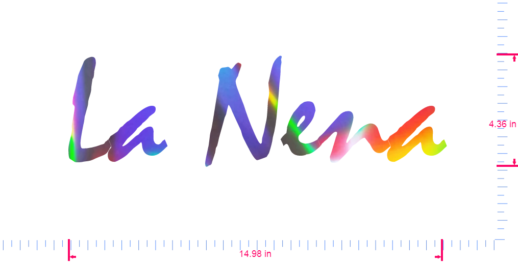 Text La Nena Vinyl custom lettering decall/4.36 x 14.98 in/ OilSlick Chrome /