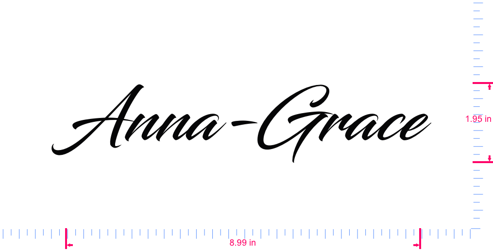 Text Anna-Grace Vinyl custom lettering decal/1.95 x 8.99 in/ Black /