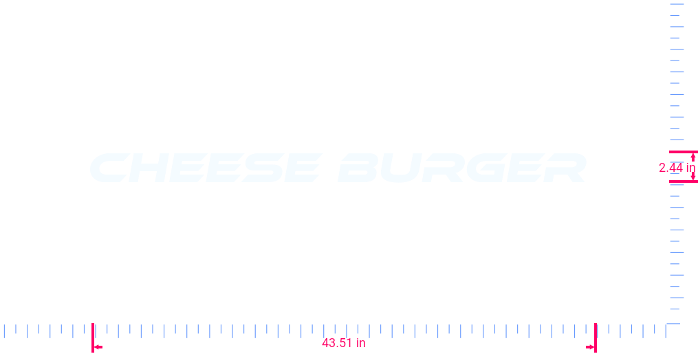 Text Cheese burger  Vinyl custom lettering decal/2.44 x 43.51 in/ White /