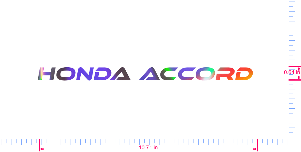 Text Honda Accord  Vinyl custom lettering decall/0.64 x 10.71 in/ OilSlick Chrome /