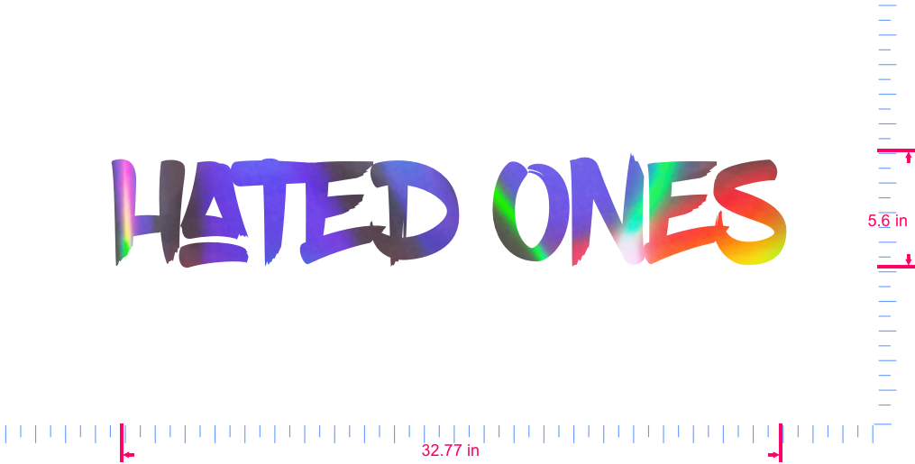 Text hated Ones Vinyl custom lettering decall/5.6 x 32.77 in/ OilSlick Chrome /