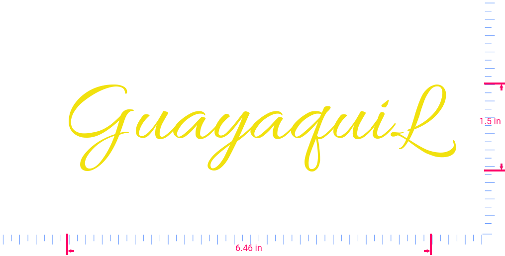 Text GuayaquiL Vinyl custom lettering decal/1.5 x 6.46 in/ Yellow /