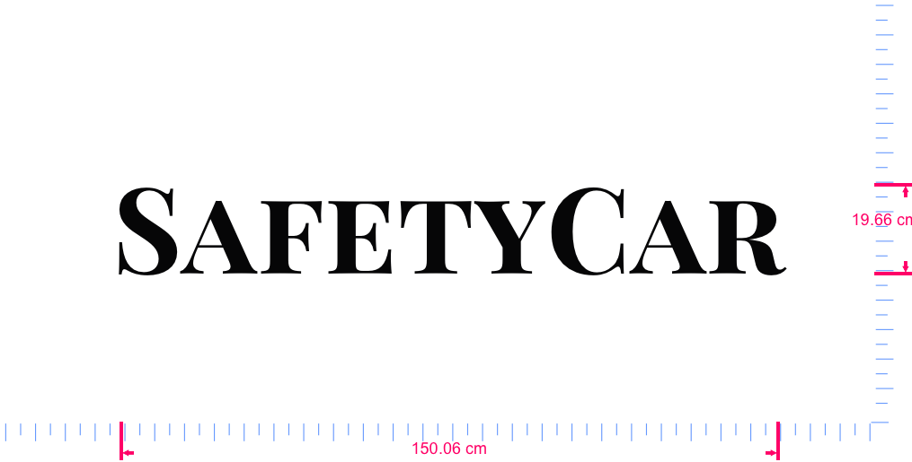 Text SafetyCar Vinyl custom lettering decall/19.66 x 150.06 cm/ Black /