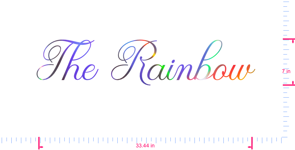 Text The Rainbow Vinyl custom lettering decall/7 x 33.44 in/ OilSlick Chrome /