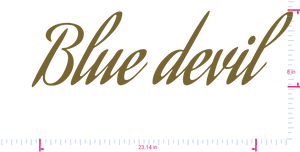 Text Blue devil Vinyl custom lettering decal/8 x 23.14 in/ Gold /