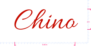 Text Chino Vinyl custom lettering decal/2 x 6.06 in/ Red /