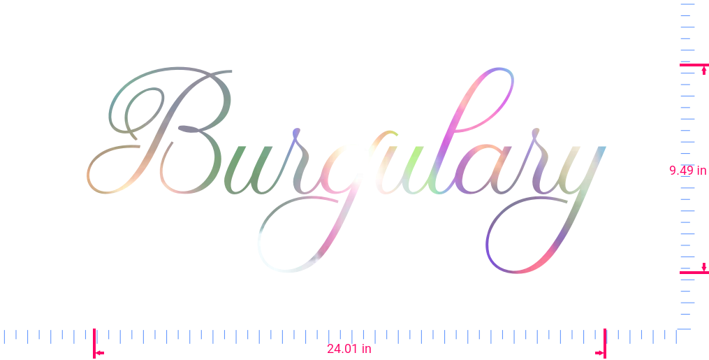 Text Burgulary Vinyl custom lettering decal/9.49 x 24.01 in/ OilSlick Chrome /