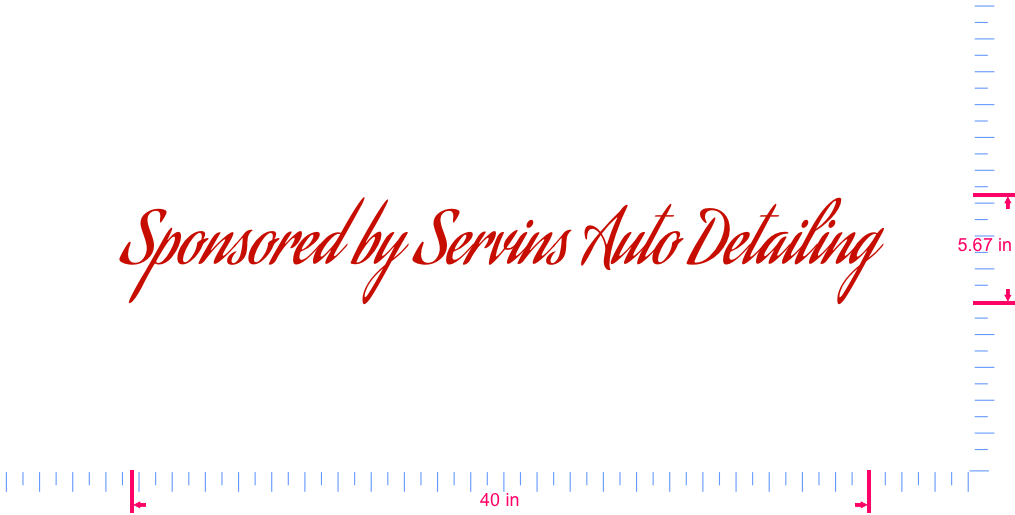 Text Sponsored by Servins Auto Detailing Vinyl custom lettering decall/5.67 x 40 in/ Red /