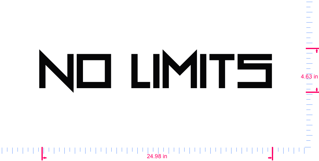 Text No Limits Vinyl custom lettering decal/4.63 x 24.98 in/ Black /